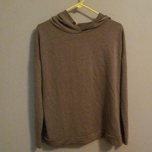 Brown split back hooded shirt
